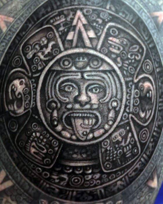 Amazing Mens Full Back Mayan Calender Tattoo Designs