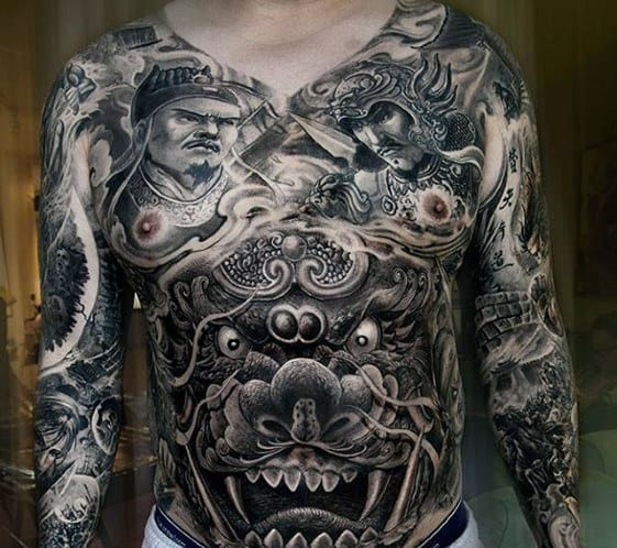 Amazing Mens Full Chest Dragon Tattoo Designs