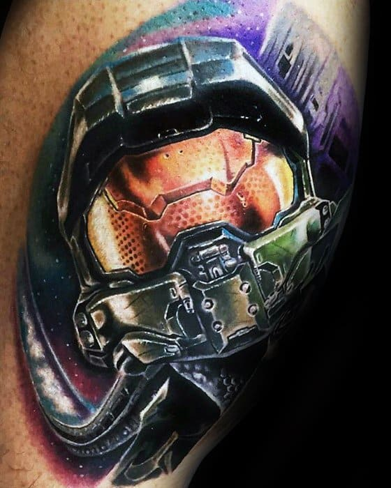 Amazing Mens Gamer Tattoo Designs On Arm