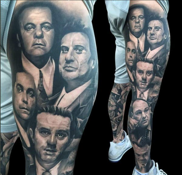 Amazing Mens Gangster Leg Sleeve Tattoos