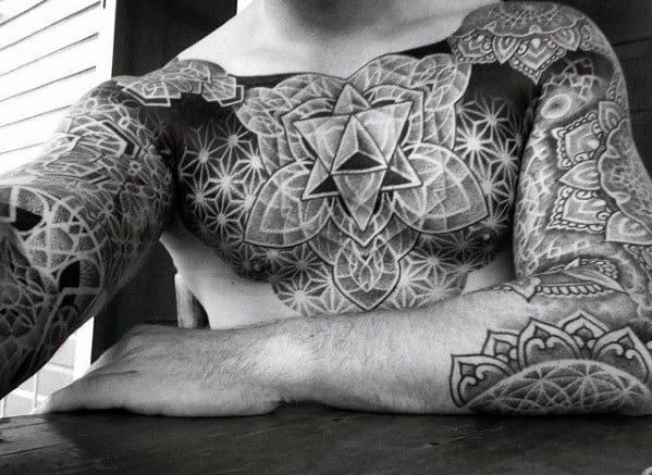 Amazing Mens Geometric Chest Tattoo Designs