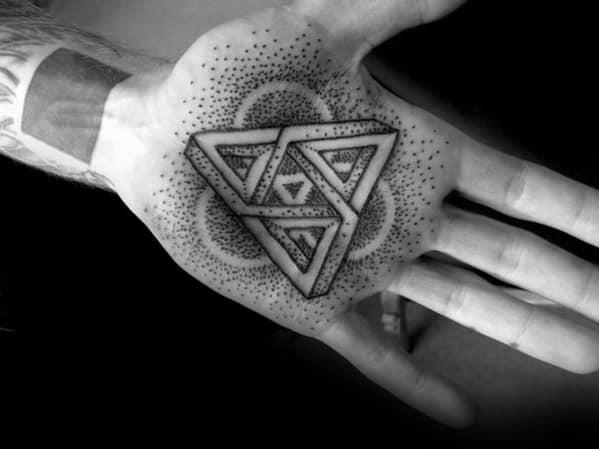 Amazing Mens Geometric Hand Palm Tattoo Designs