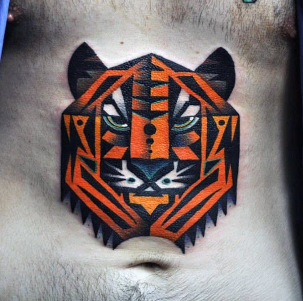 Amazing Mens Geometric Tiger Tattoo Designs