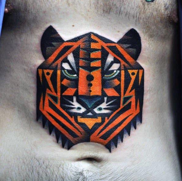 Amazing Mens Geometric Tiger Tattoo Designs