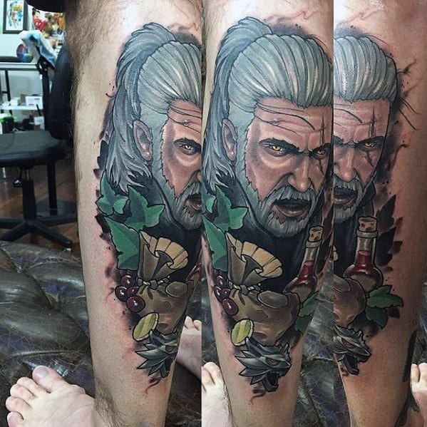 Amazing Mens Geralt Tattoo Designs