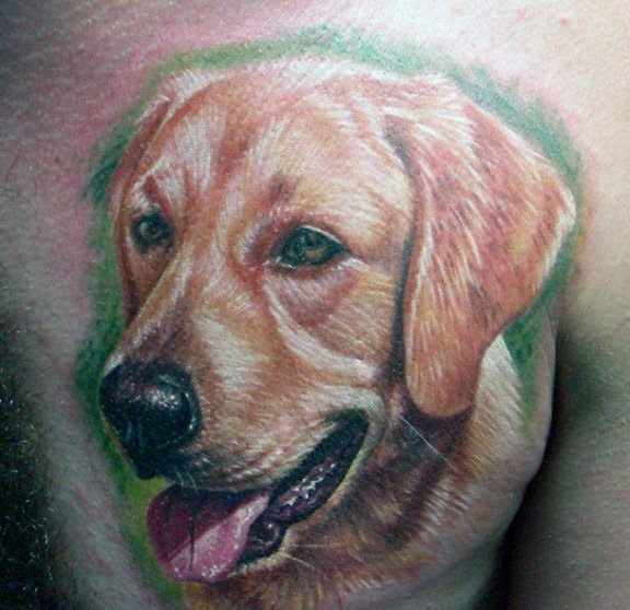Amazing Mens Golden Retriever Tattoo Designs