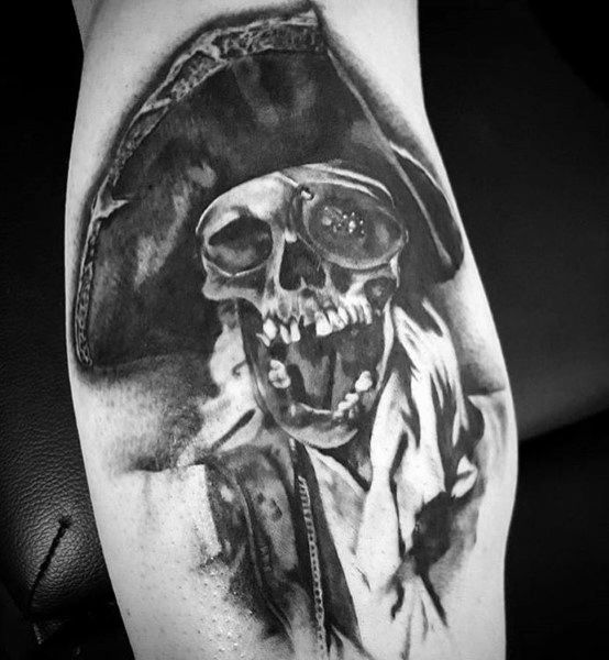 Amazing Mens Goonies Skull Leg Calf Shaded Tattoos