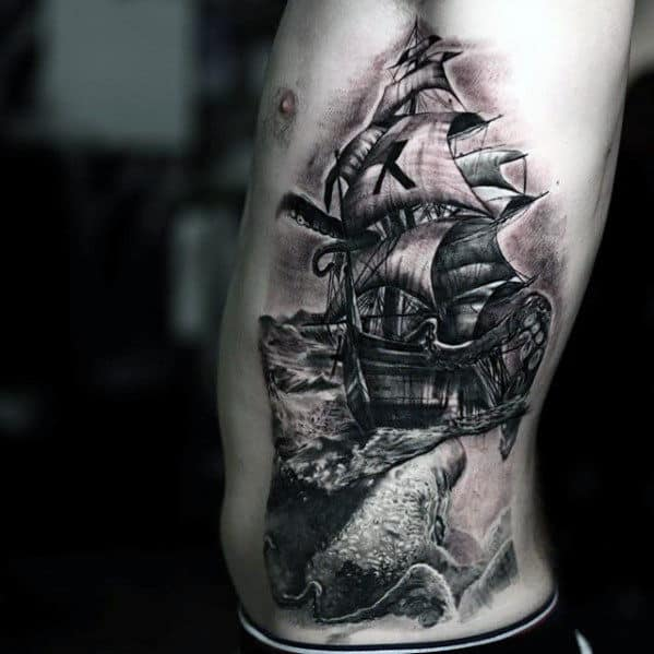 Amazing Mens Great Rib Cage Side Kraken Ship Tattoo Ideas