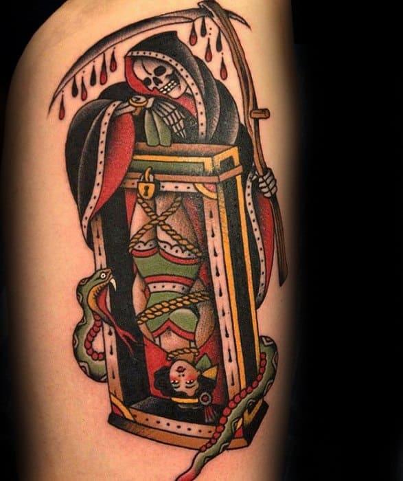 Amazing Mens Grim Reaper Magician Thigh Tattoo Designs