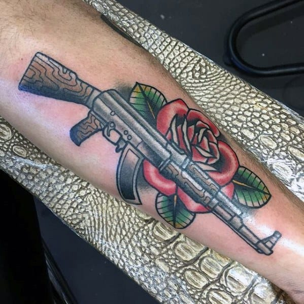 40 Guns And Roses Tattoo Designs For Men - Hard Rock Band Ink Ideas