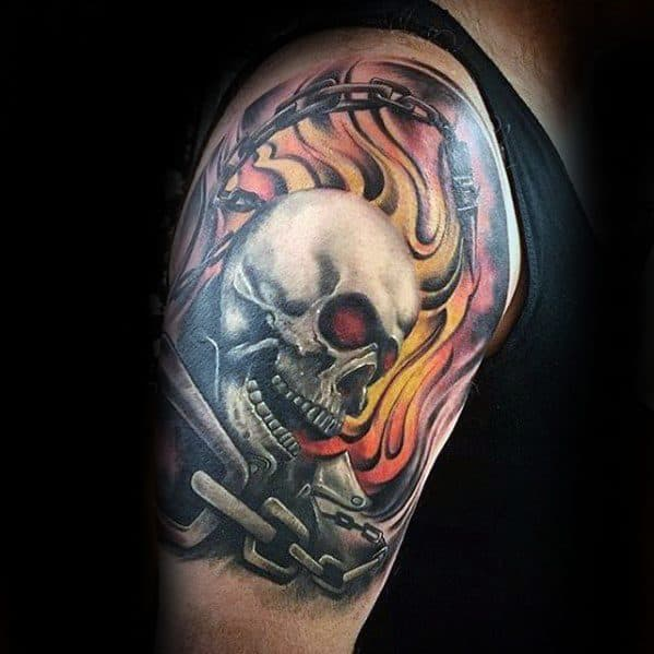 Amazing Mens Half Sleeve Chains Flaming Skull Tattoo 3d Designs