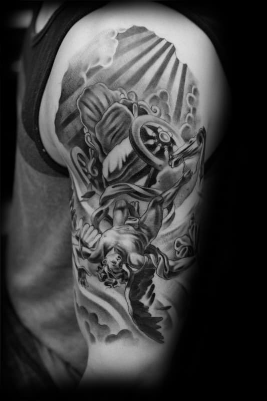Amazing Mens Half Sleeve Icarus Chair Tatoo Designs