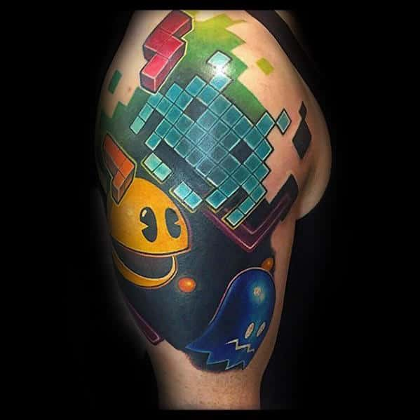 Amazing Mens Half Sleeve Pacman Tetris Themed Tattoos