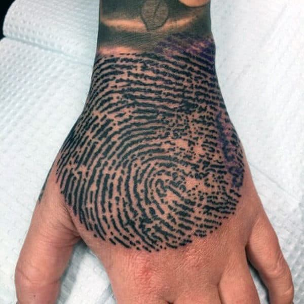 Amazing Mens Hand Fingerprint Tattoo Designs