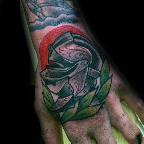 Amazing Mens Hand Knights Helmet Laurel Wreath Tattoo Designs