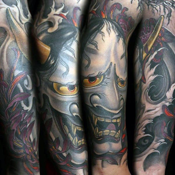 Amazing Mens Hannya Mask Sleeve Tattoo Design Inspiration