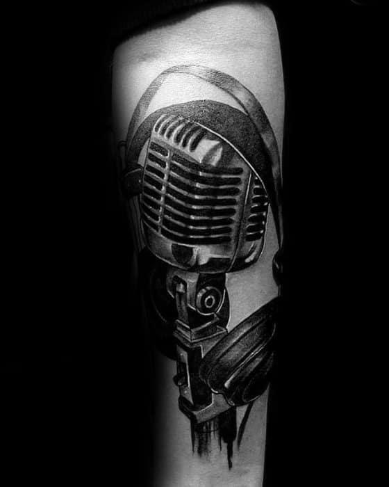 Amazing Mens Headphones Tattoo Designs On Inner Forearm