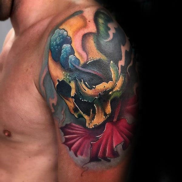Amazing Mens Hibiscus Flower Skull Tattoo Quarter Sleeve