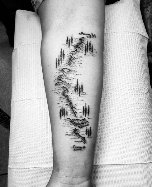Amazing Mens Hiking Tattoo Designs