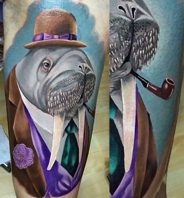 Amazing Mens Hyper Realistic 3d Walrus Leg Sleeve Tattoo Designs