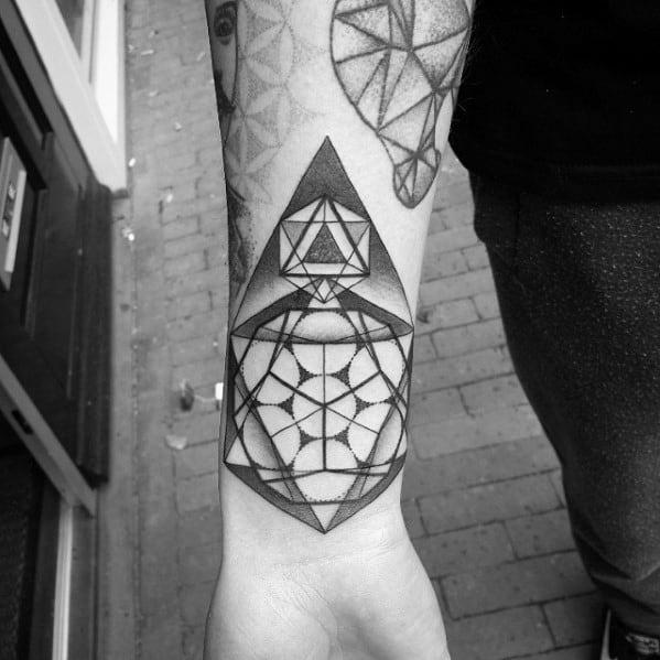 Amazing Mens Icosahedron Tattoo Designs
