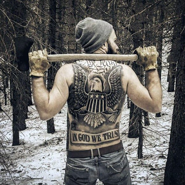 Amazing Mens In God We Trust We The People Full Back Tattoos