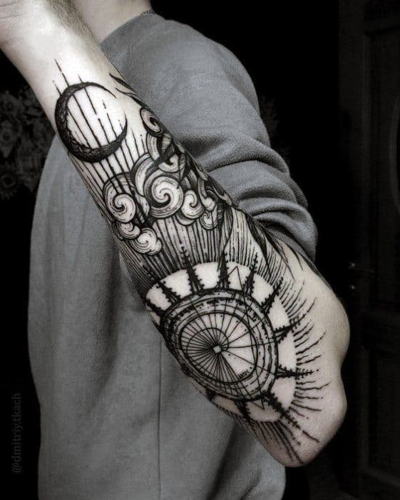 Amazing Mens Incredible Outer Forearm Sun And Moon Tattoo Designs