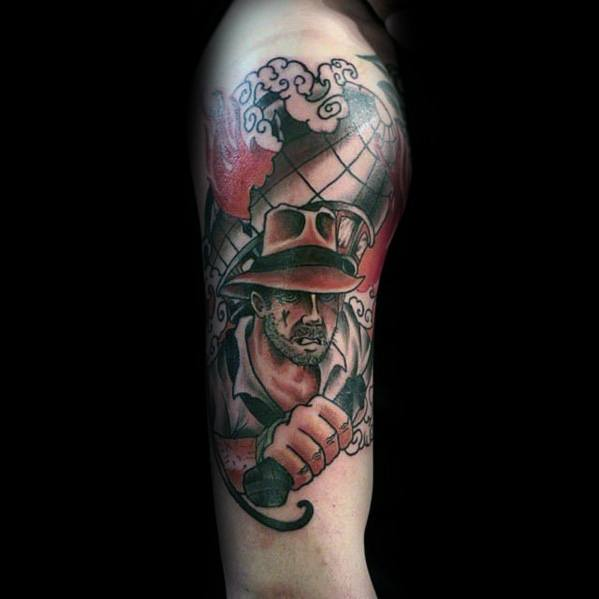 Amazing Mens Indiana Jones Tattoo Designs