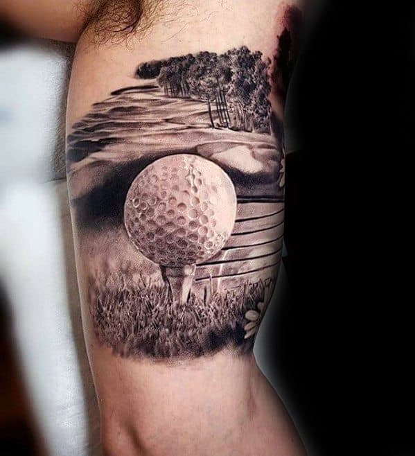 Amazing Mens Inner Arm 3d Golf Ball Greatest Tattoo Designs