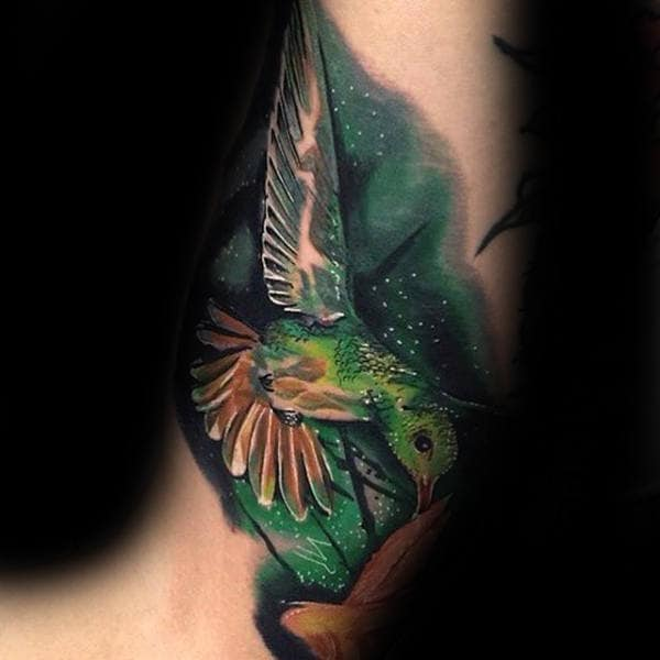 Amazing Mens Inner Arm Hummingbird Watercolor Tattoos