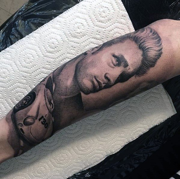 Amazing Mens James Dean Forearm Tattoo Designs