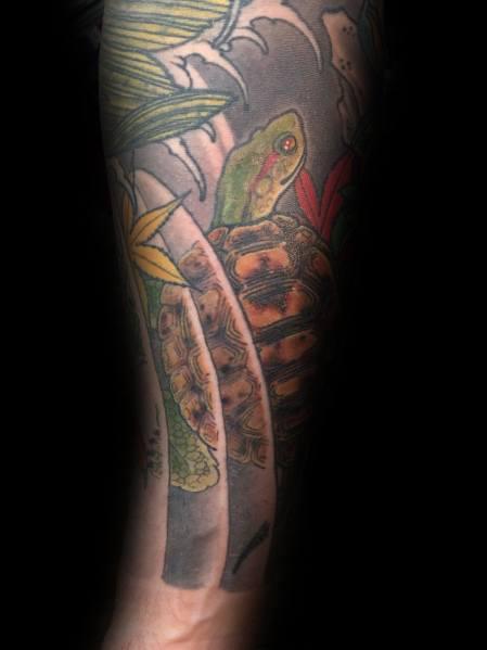 Amazing Mens Japanese Turtle Tattoo Designs