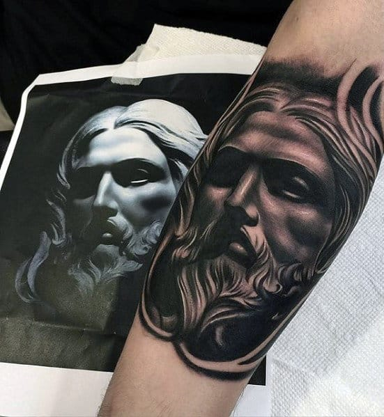 Amazing Mens Jesus Face Tattoo On Outer Forearm