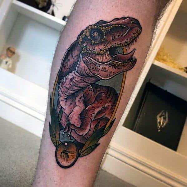 Amazing Mens Jurassic Park Dinosaur Neo Traditional Leg Tattoo Designs