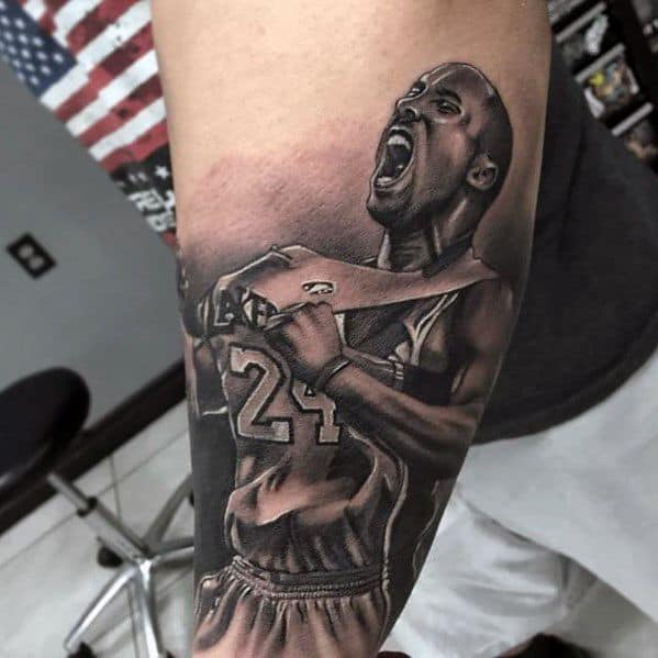 Amazing Mens Kobe Bryant Tattoo Designs On Outer Forearm