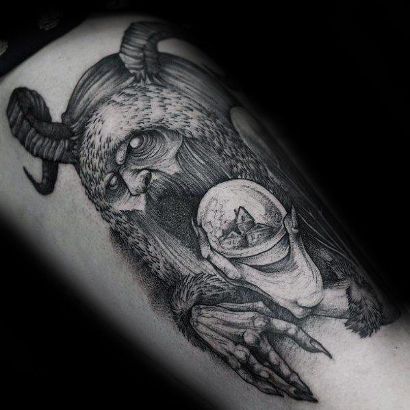 Amazing Mens Krampus Tattoo Designs