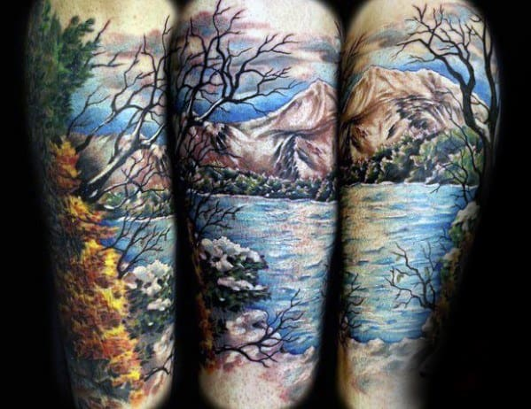 Amazing Mens Lake Nature Sleeve Tattoo Designs