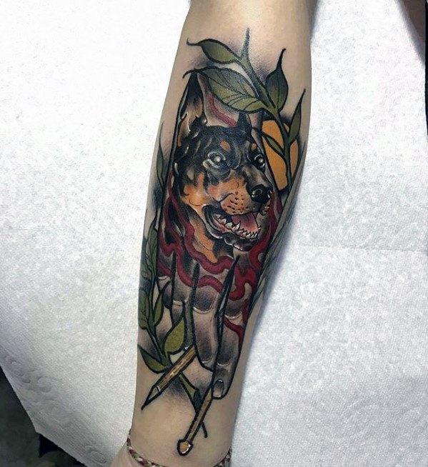 Amazing Mens Leg Doberman Tattoo Designs