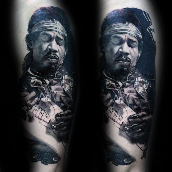 Amazing Mens Leg Jimi Hendrix Portrait Tattoo Designs