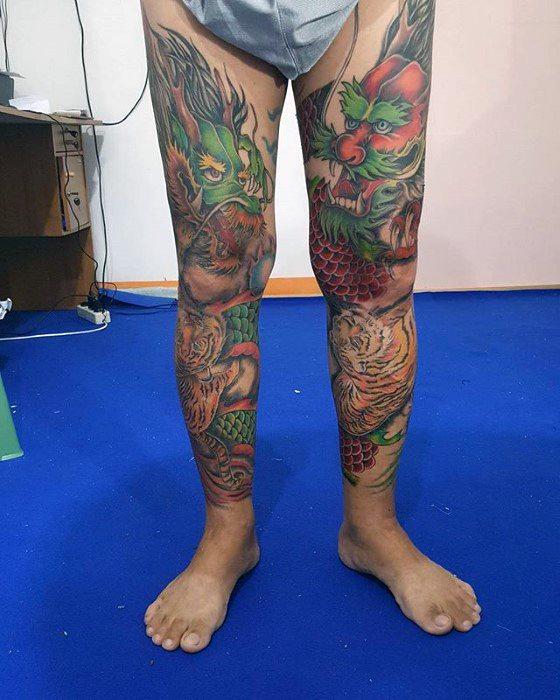 Amazing Mens Leg Sleeve Tiger Dragon Tattoo Designs