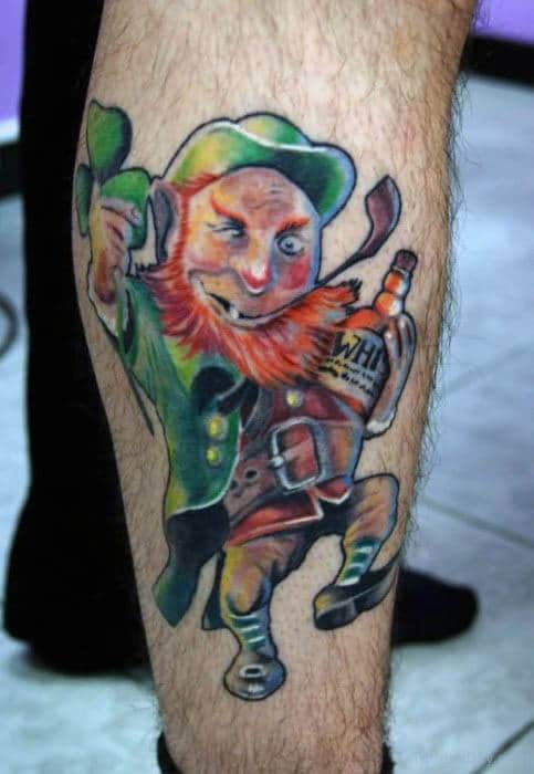Amazing Mens Leprechaun Tattoo Designs On Leg
