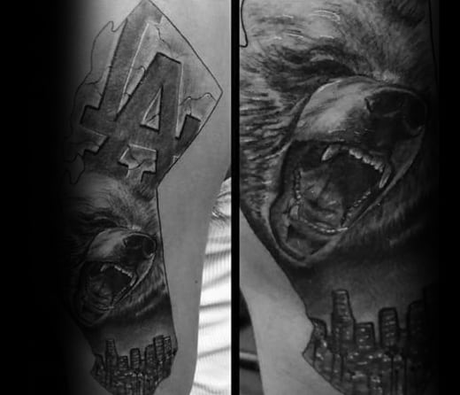 Amazing Mens Los Angeles California Skyline Arm Tattoo Designs