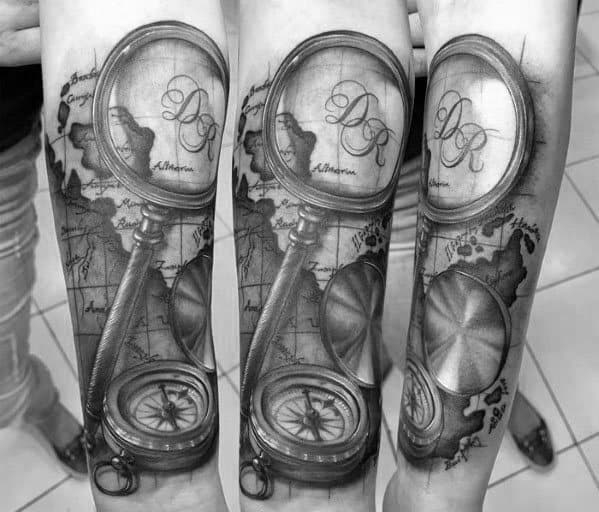 Amazing Mens Magnifying Glass Tattoo Designs