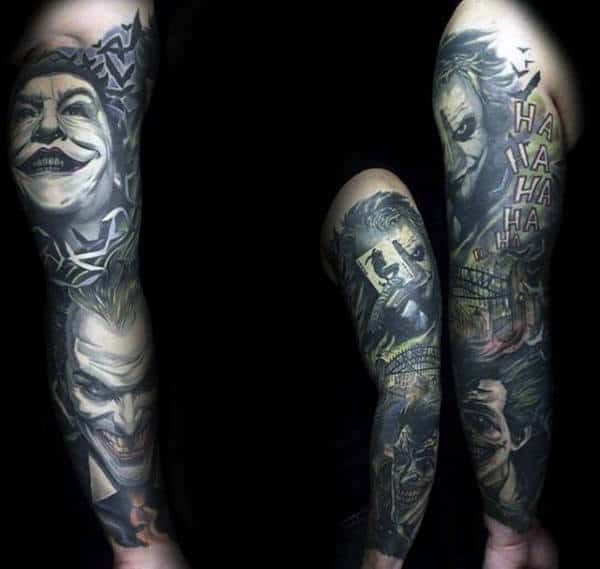 Amazing Mens Manly Full Sleeve Tattoo With Joker Themed Design