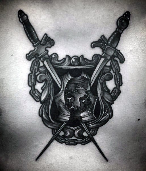 Amazing Mens Manly Shield Chest Tattoo With Dual Swords Design Ideas