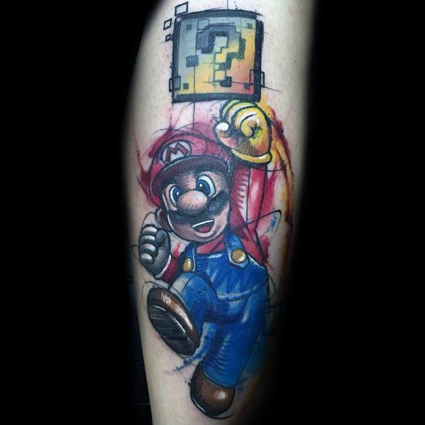 Amazing Mens Mario Tattoo Designs