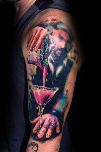 Amazing Mens Martini Glass Tattoo Designs
