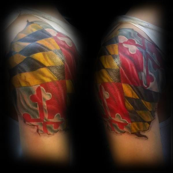 Amazing Mens Maryland Flag Tattoo Designs