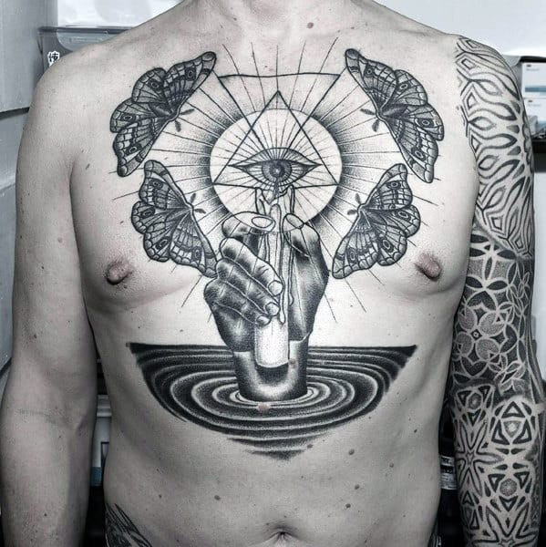 Amazing Mens Masculine Eye Of Providence Chest Tattoos