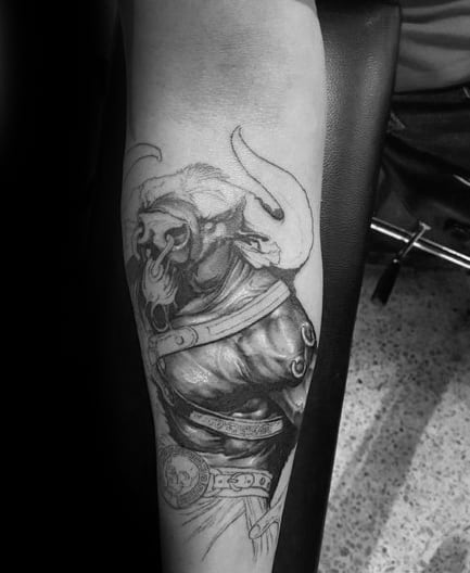 Amazing Mens Minotaur Inner Forearm Tattoo Designs